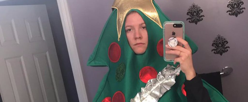 College Student Wears Christmas Tree Costume to Class