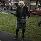 Camilla was spotted with the DeMellier Mini Venice bag in forest gran on a royal engagement in January 2019.