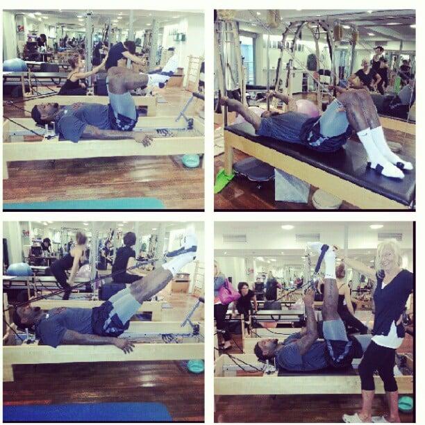LeBron James shared photos of his pre-game Pilates workout. Source: Instagram user kingjames