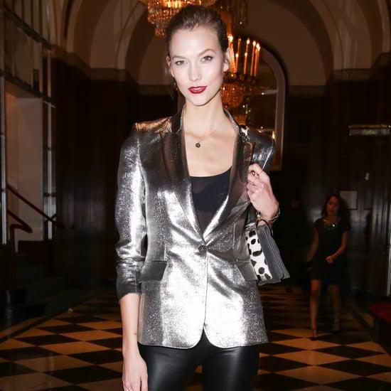 Karlie Kloss Metallic Silver Blazer Outfit
