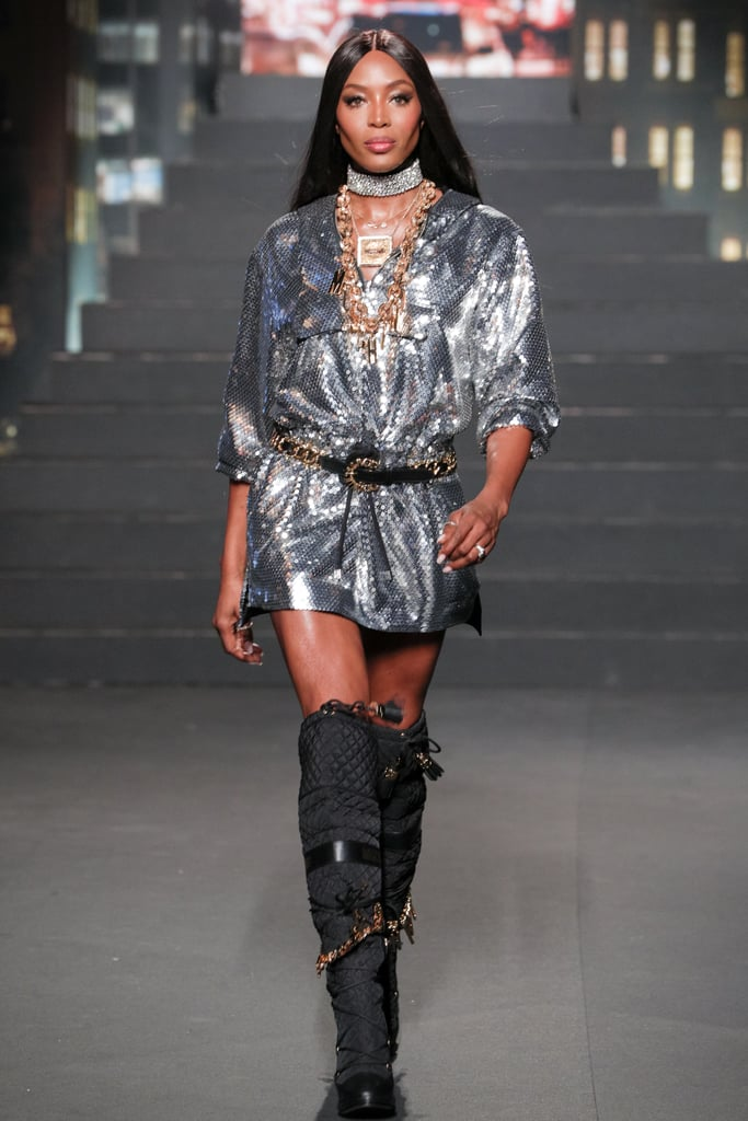 Naomi Campbell Closed the Show in a Sparkly Silver Dress