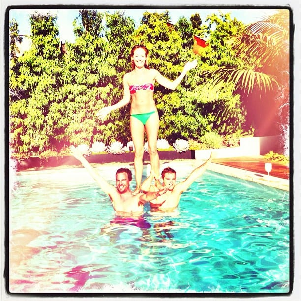 Cat Deeley showed off her cheerleading skills in the pool with some pals. Source: Instagram user catdeeley