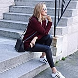 A Sweater, Leather Pants or Leggings, and Sneakers