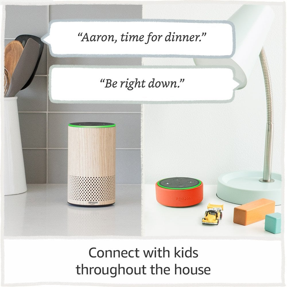 """Gone are the days of shouting up the stairs for the kids to come down to dinner when this device allows for household announcements, calling, and """"Drop In"""" within the home."""