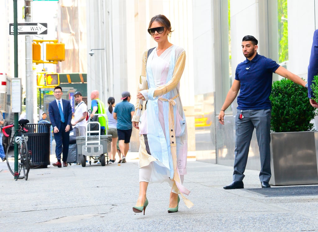 Victoria Beckham Green Heels in NYC 2018