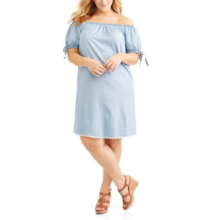 Cherokee Woven Off Shoulder Dress With Tie Sleeves | Plus-Size ...