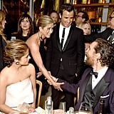 Jennifer Aniston and Justin Theroux stopped to say hi to Matthew McConaughey and Camila Alves at the HBO afterparty.