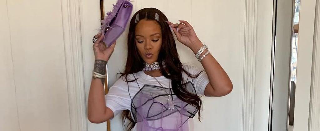 Rihanna Wearing Purple Dress Over Jeans on Instagram