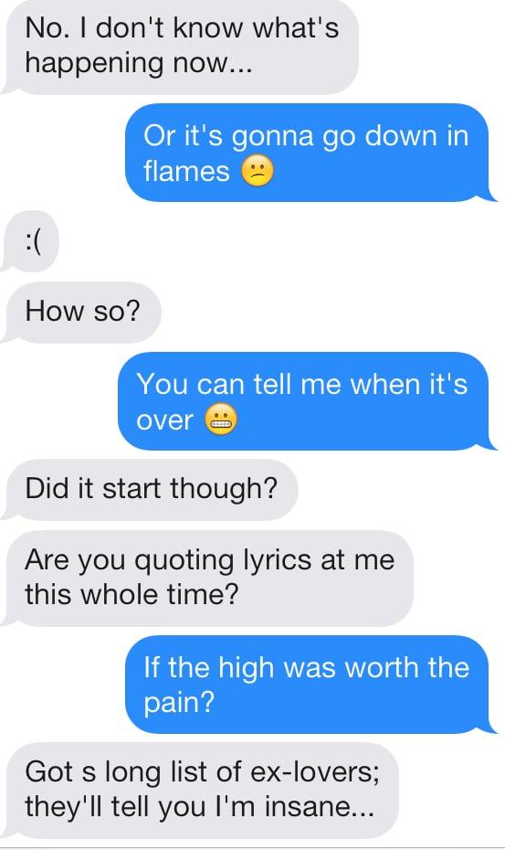 Lyric sex conversation lyrics : Sending Taylor Swift 1989 Lyrics on Tinder | POPSUGAR Love & Sex