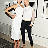 Karlie Kloss and Karolina Kurkova were all legs at the Vogue bash.
