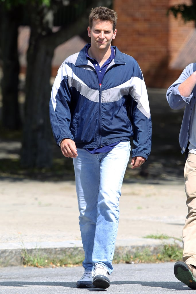 Bradley Cooper arrived wearing acid-washed jeans and a windbreaker for his scenes.