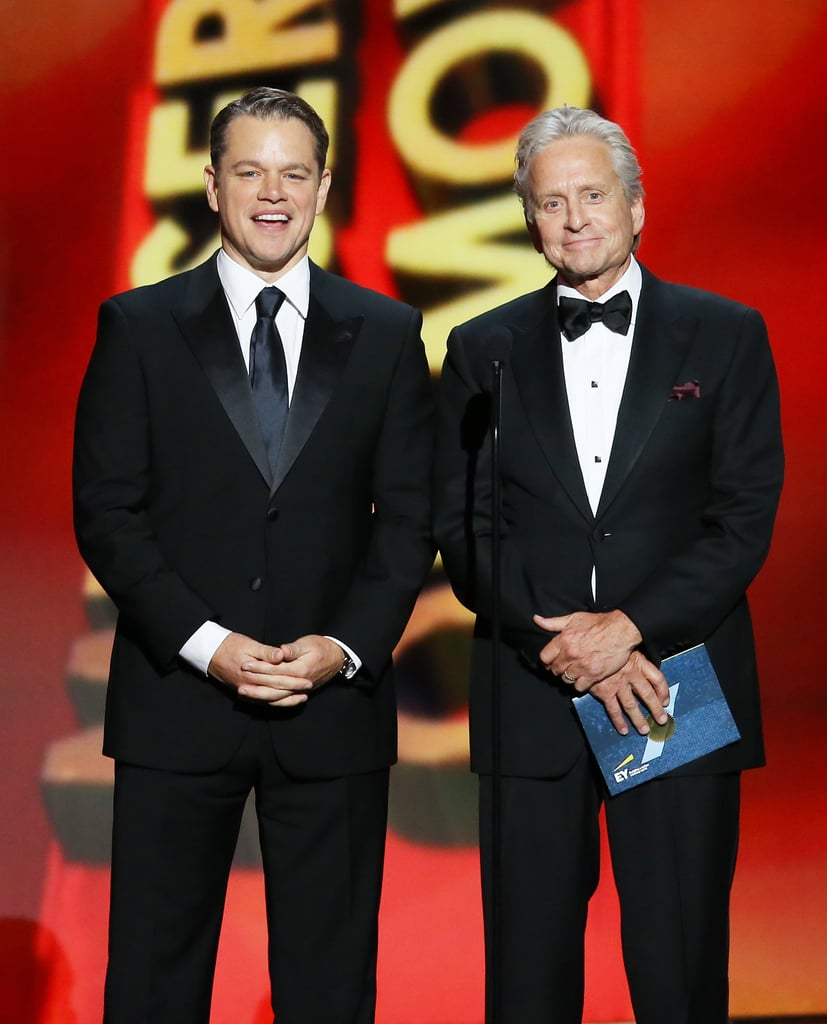 Matt Damon and Michael Douglas at the 2013 Emmy Awards