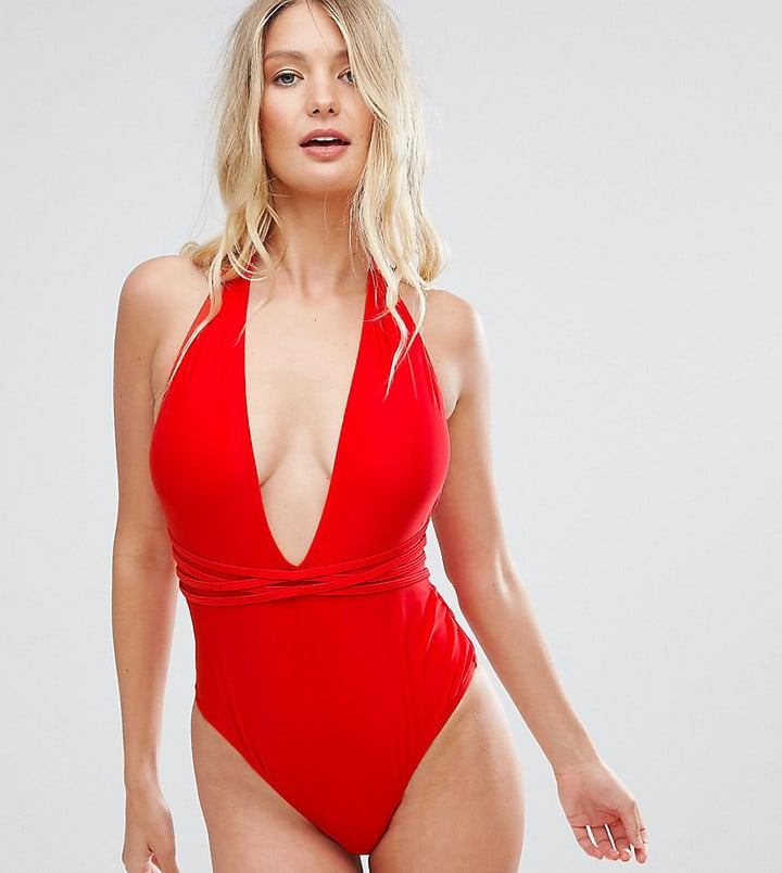 5ab2bf59409 Wolfwhistle Wolf & Whistle Deep Plunge Swimsuit With Cross Straps ...