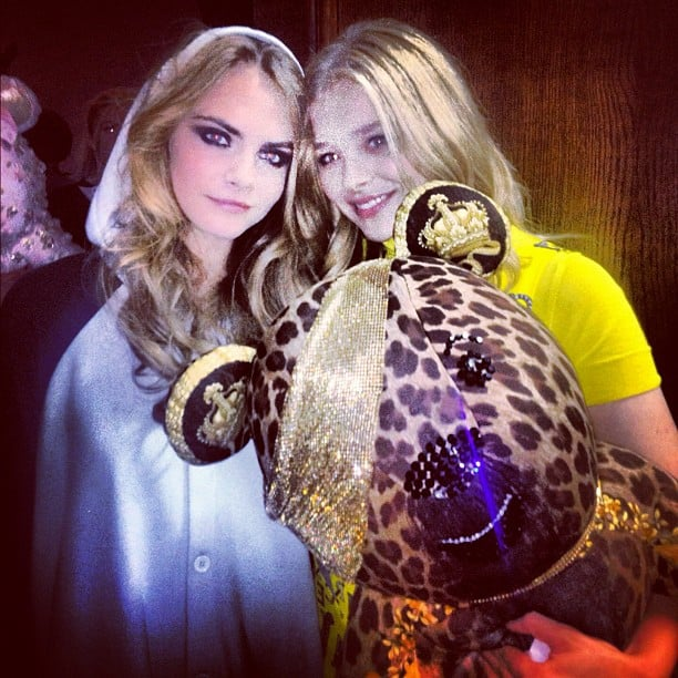 Cara Delevingne and Chloe Moretz hung out with an interesting-looking teddy bear. Source: Instagram user caradelevingne