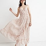 Petite Ruffle-Strap Wrap Dress in Inkspot Dots