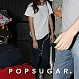 Kristen Stewart had her headphones hanging of her pocket.