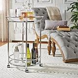 Home Sullivan Alyce Chrome Bar Cart With Wine Glass Storage