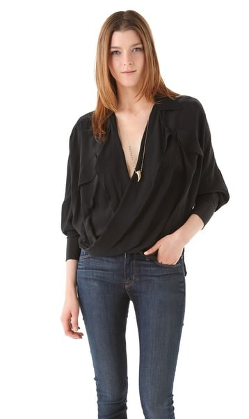 The gorgeous draping on this Funktional Silk Fold Front Top ($124) gives it a sexier twist that makes it perfect for a night out.