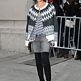If you think you can't wear over-the-knee boots, think again. Street style superstar Miroslava Duma is just 5 feet tall. Her tricks to pulling them off like a pro? A slim pair of denim to show off the shape of the leg and a top that doesn't cover or hide her waistline. Steer clear of shapeless shifts and oversize throw-ons that will hide your proportions.