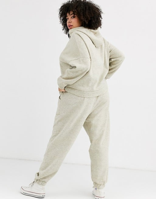 ASOS Design Curve Tracksuit Hoody / Basic Jogger With Pocket Details in Neppy