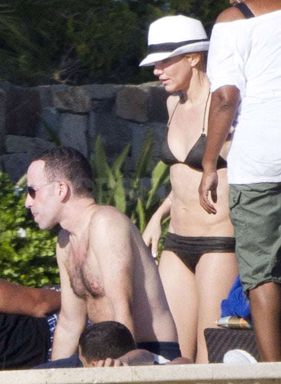 Cameron Diaz joined Alex Rodriguez and his daughters in Cabo to splash around in a swimming pool yesterday. The actress wasted no time in getting into her bikini and playing with Natasha. The couple also holidayed in Mexico over Thanksgiving, and engaged on PDAs in Miami earlier this month. Cameron's enjoying some downtime following her hectic schedule promoting The Green Hornet in Madrid, Berlin, Rome, Moscow, and Paris.