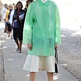 Hanne Gaby worked a bold anorak and slip-on booties for a futuristic twist.