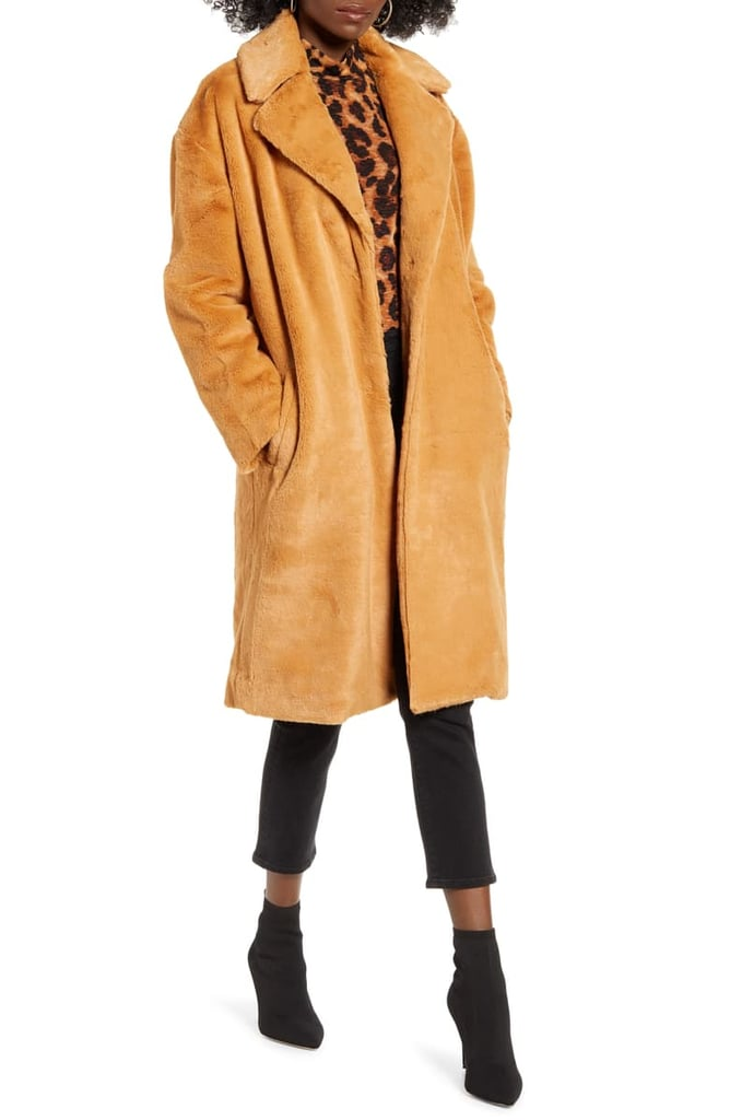 Mural Long Faux Fur Coat