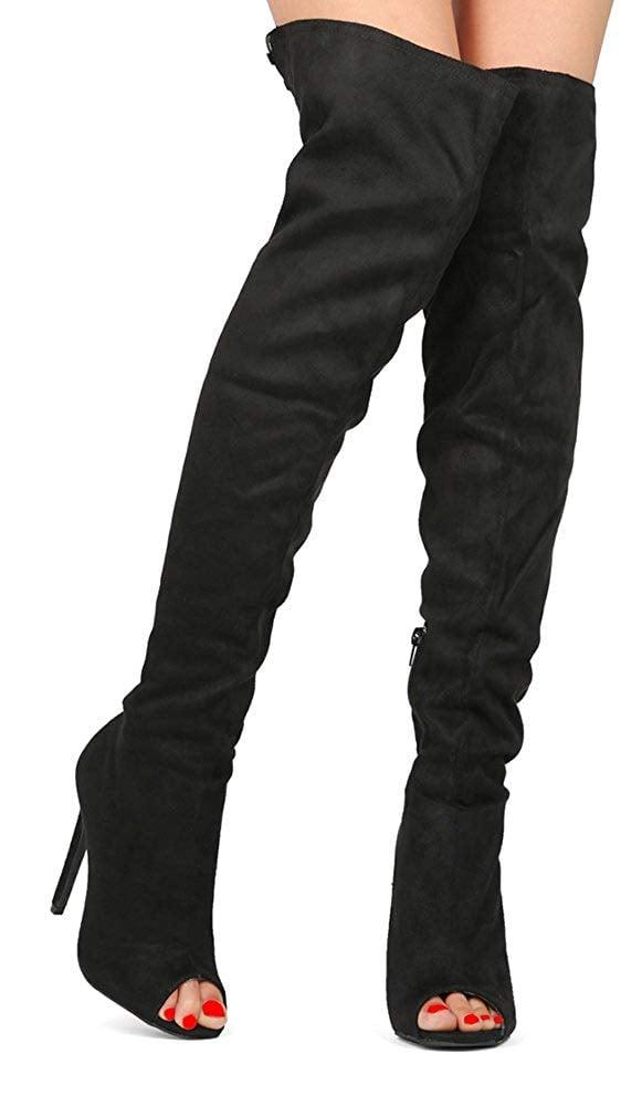 b65d42511d0cf0 Wild Diva Over Knee Thigh High Heels Stiletto Open Peep Toe Boot ...