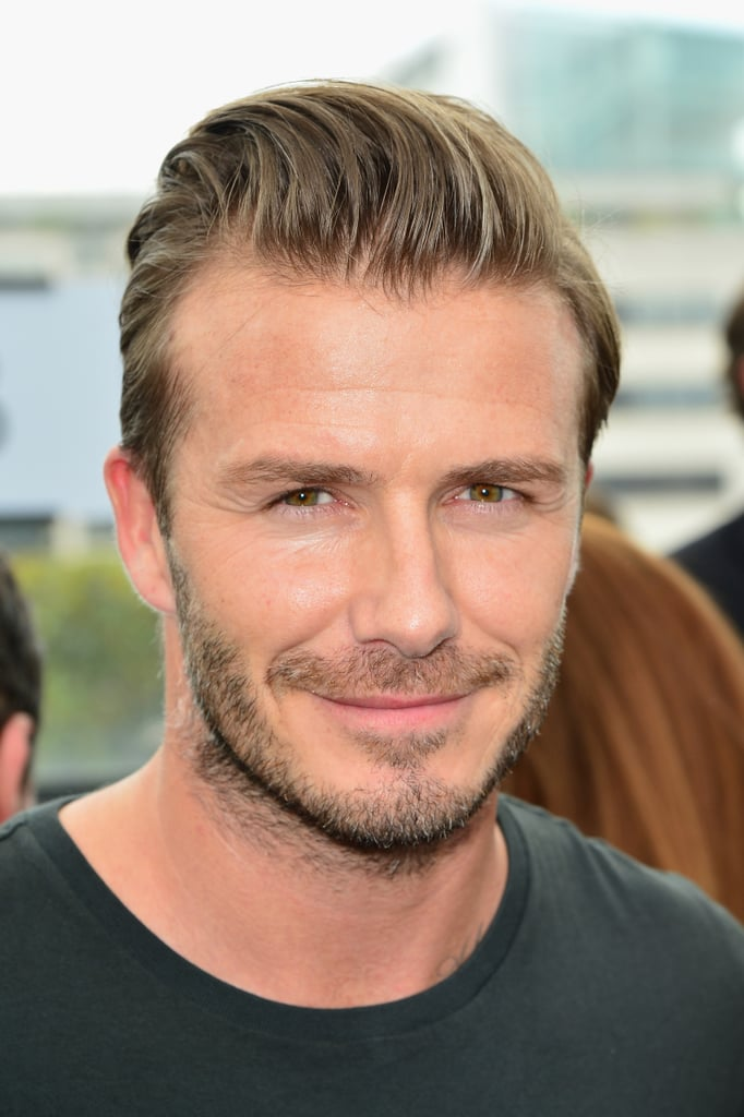 David Beckham showed off new stubble.