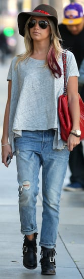 Ashley Tisdale Ripped Boyfriend Jeans