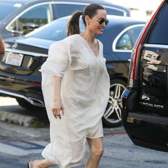 Angelina Jolie White Dress and Slides 2019