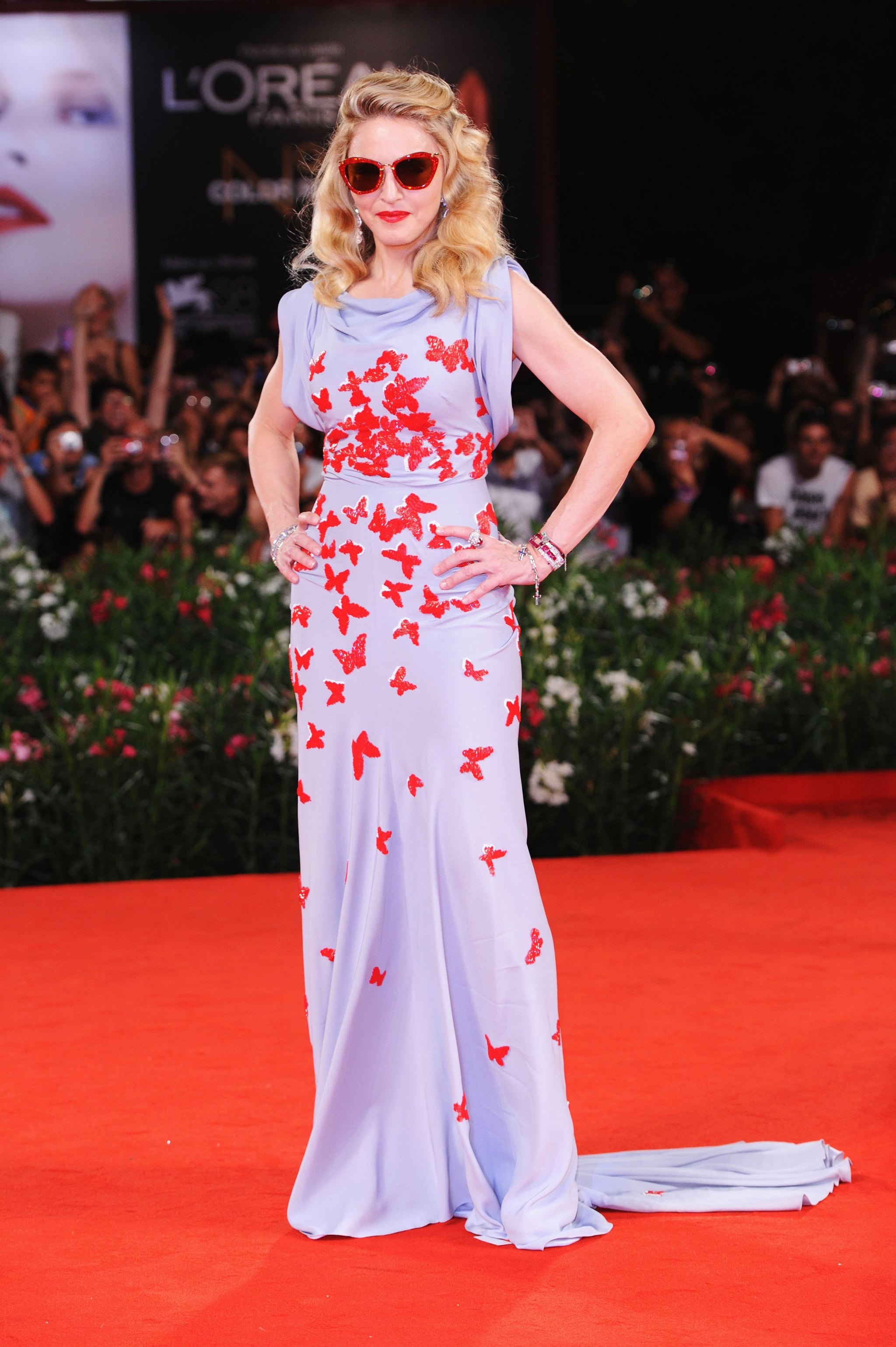 Madonna wore butterflies on a lavender gown.