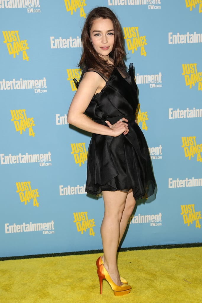 Game of Thrones star Emilia Clarke struck a pose on the red carpet for an Entertainment Weekly party during the 2012 event.