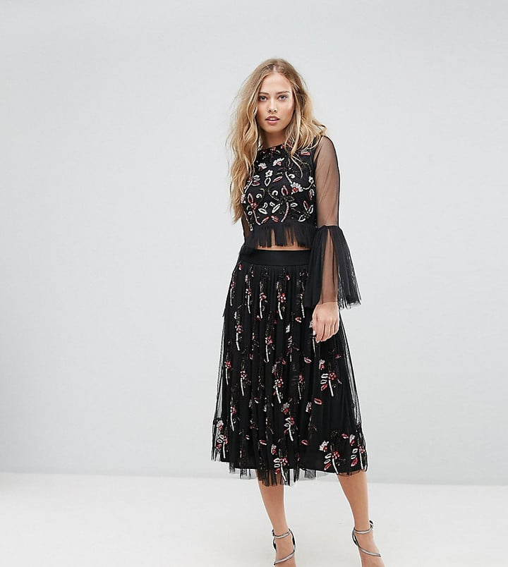 Lace and Beads Midi Skirt in 3D Embellishment