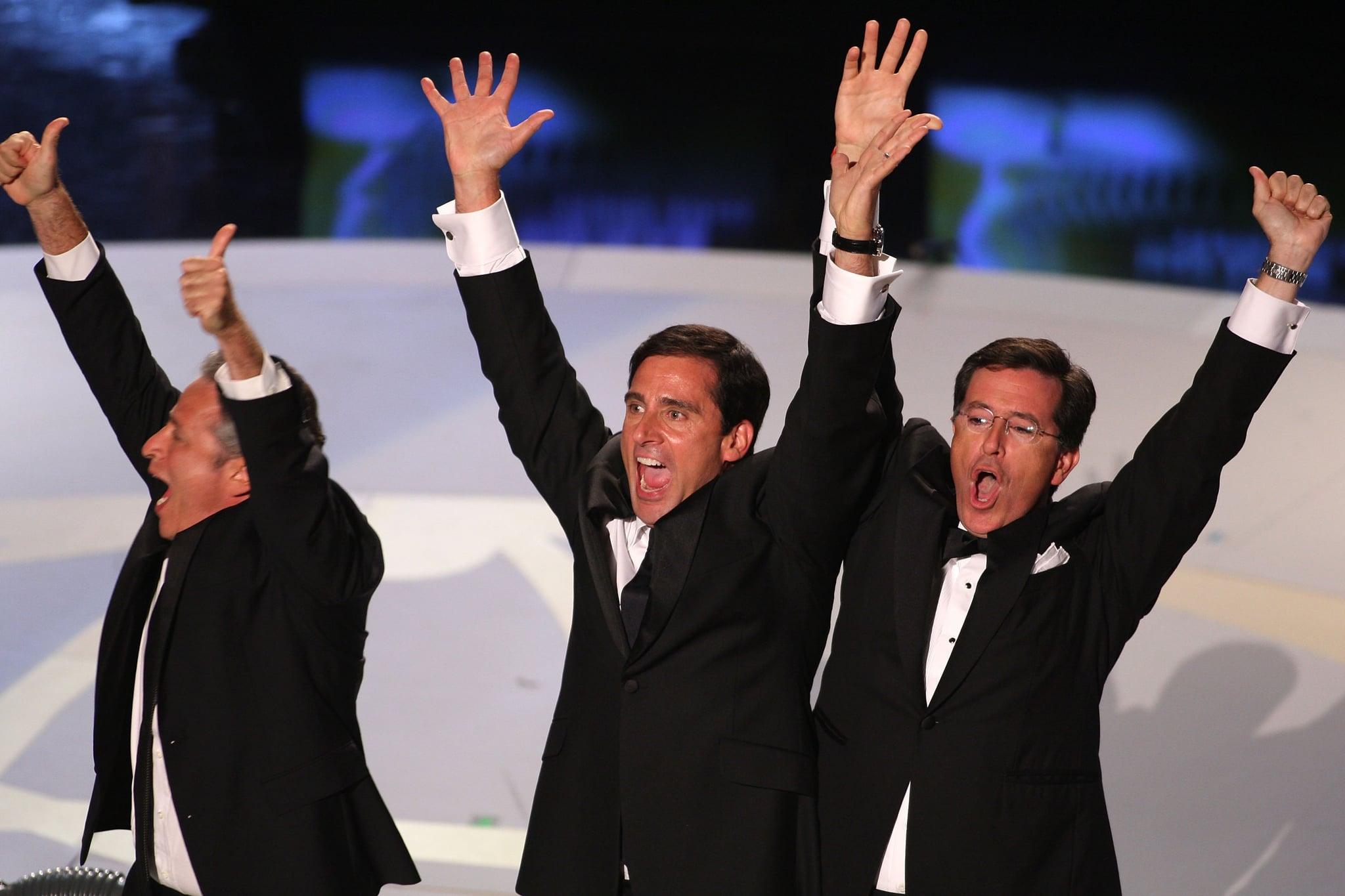 Jon Stewart, Stephen Colbert, and Steve Carell joked around in 2007.