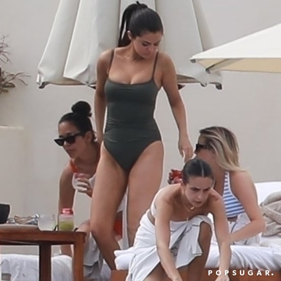 Selena Gomez Gray One-Piece Swimsuit