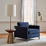 Rivet Midcentury Modern Floor Lamp and Round Wood Table With Light Bulb and Linen Shade