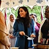 Meghan Markle Blue Coat Cookbook Party