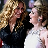 She and niece Emma laughed it up on the red carpet during the Valentine's Day premiere in 2010.