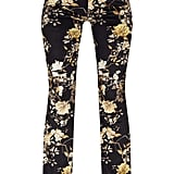 Black Floral Velvet Flared Trousers