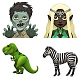 And here are zombie, elf, T-rex, and zebra emoji.
