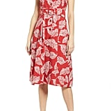 J.O.A. Button-Front Fit & Flare Dress