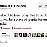 The Museum of Fine Arts offered free entry for Bostonians to enjoy art.