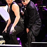 Elton John did a dance with Channing Tatum at the Revlon Concert for the Rainforest Fund at Carnegie Hall in NYC.