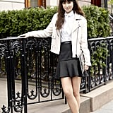 We love how this white moto jacket lends some street cred to pretty, feminine pieces.