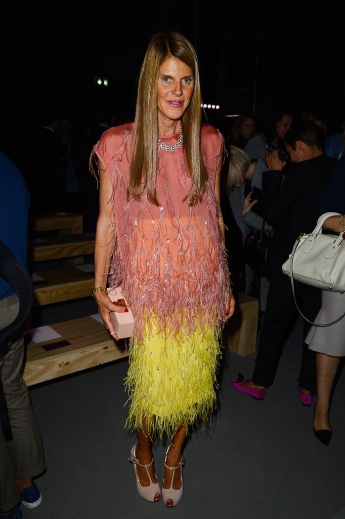 Anna Dello Russo looked fine and feathered in the front row of Saint Laurent's runway show.