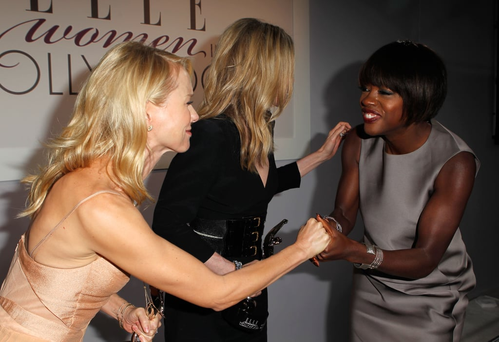 Viola Davis and Naomi Watts held hands backstage at Elle's Women in Hollywood Tribute.