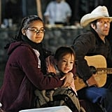 Ariel Winter as Alex, Tim Blake Nelson as Hank, and Aubrey Anderson-Emmons as Lily on Modern Family.  Photo copyright 2011 ABC, Inc.
