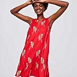 LOFT Parrot Split Neck Flippy Dress