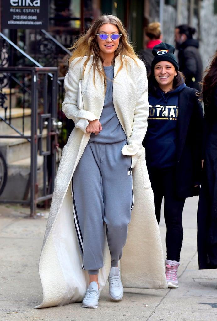 Gigi Hadid Monogrammed Sweatpants October 2016
